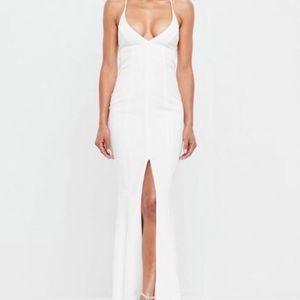 Peace + love white slip fishtail maxi dress